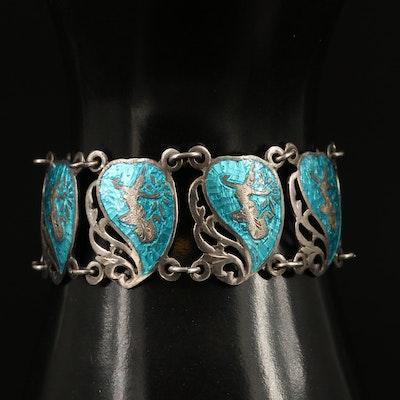 Thai Sterling Silver Enamel Panel Bracelet