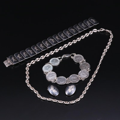 Sterling Silver and 800 Silver Jewelry Including Siam Niello and Coin Bracelets