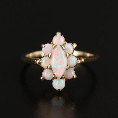10K Opal Halo Ring