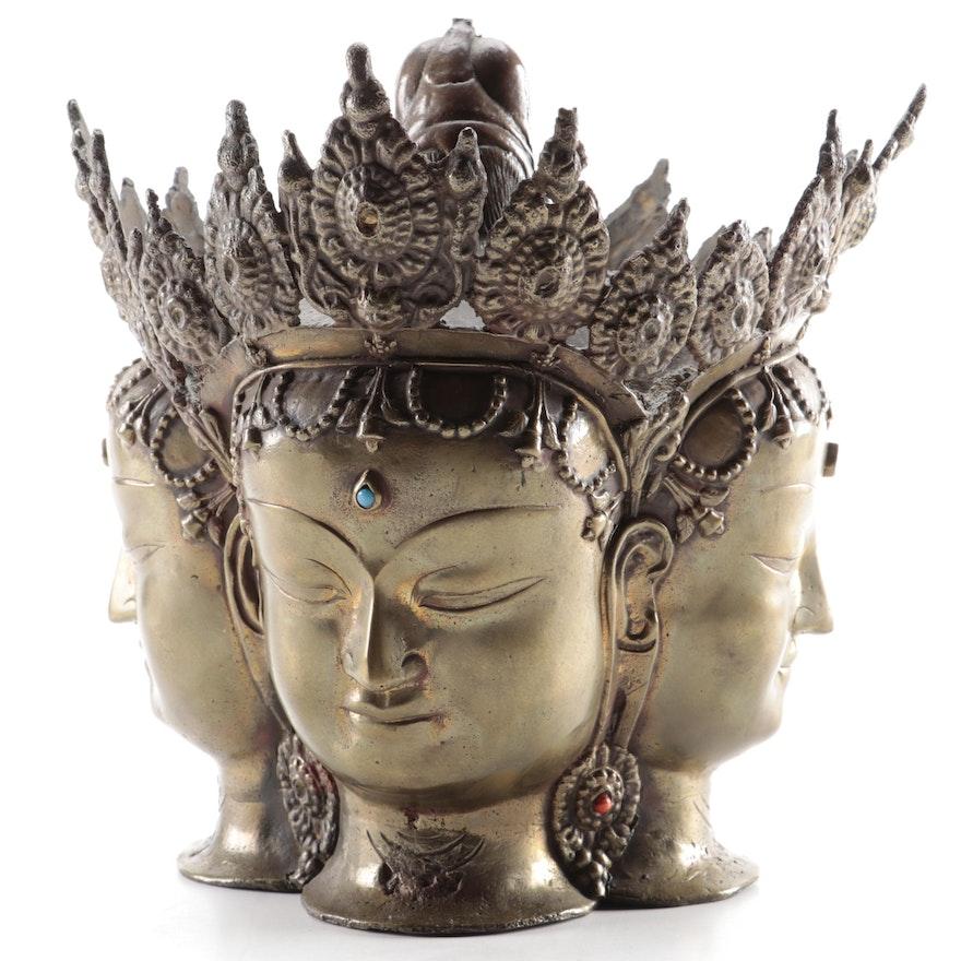 Ceremonial Gupta Style Brass Brahma Head