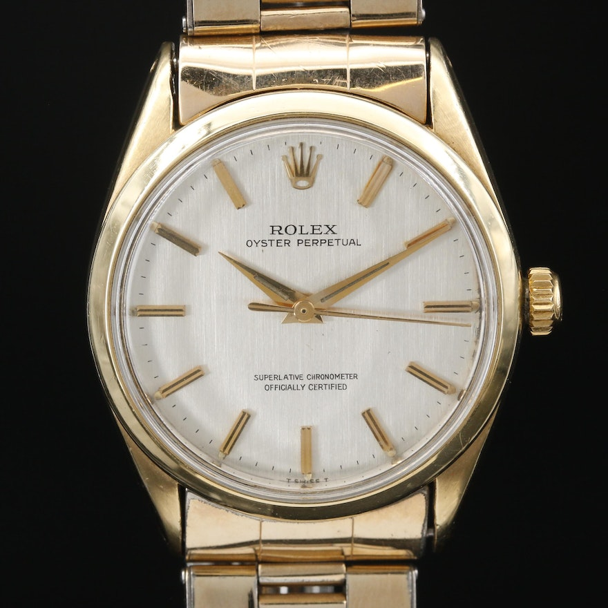 """Vintage Rolex """"Oyster Perpetual"""" Gold Shell Wristwatch"""