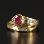 18K Heart Faceted Ruby and Diamond Bypass Ring