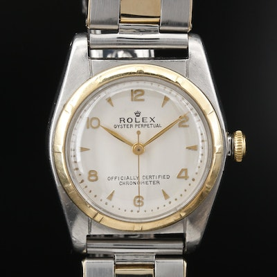1954 Rolex Bubble Back 14K and Stainless Steel Wristwatch