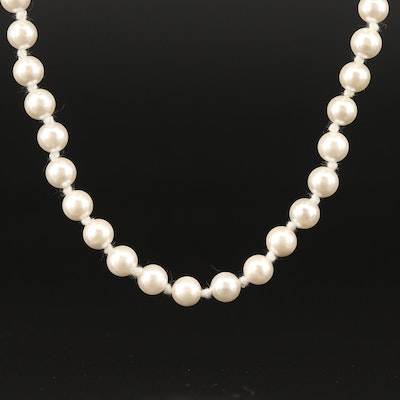 Imitation Pearl Necklace with 14K Clasp