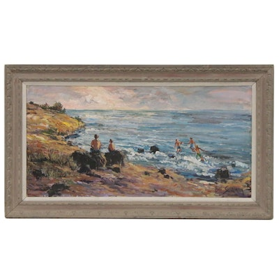Bill Salamon Coastal Oil Painting of Beach, 20th Century