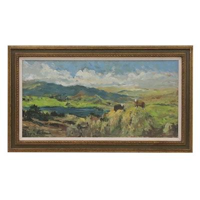 Bill Salamon Oil Painting of Mountainside, 20th Century