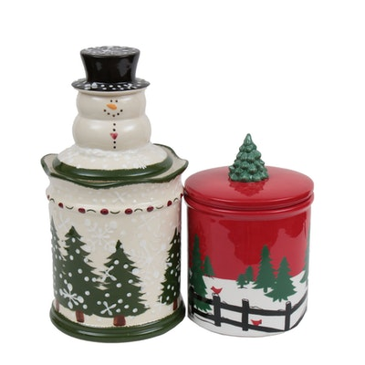 Cheryl & Co. Winter and Christmas Themed Ceramic Cookie Jars