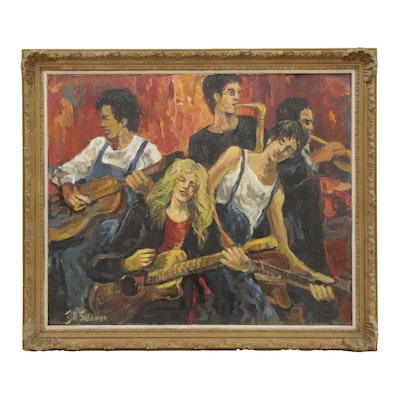 Bill Salamon Oil Painting of Band, 20th Century