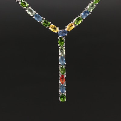 Sterling Silver Sapphire and Diopside Y Necklace