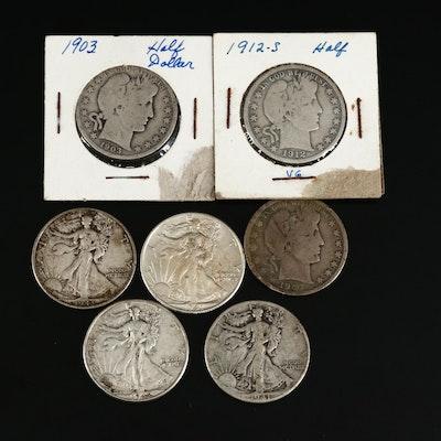 Barber and Walking Liberty Silver Half Dollars