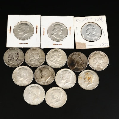 Fourteen Silver Franklin and Kennedy Half Dollars