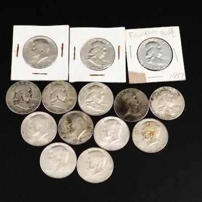 Fourteen Silver Franklin and Kennedy Half Dollars