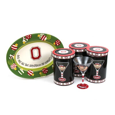 Hand-Painted Ohio State Buckeyes Martini Glasses and Ceramic Platter