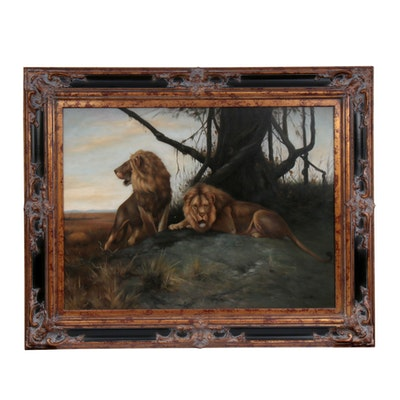 Jim Huff Oil Painting of Lions, Late 20th Century