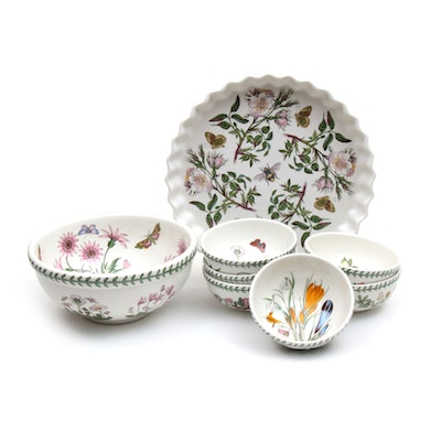 "Portmeirion ""The Botanic Garden"" Soup Bowls, Pie Dish, and Serving Bowl"