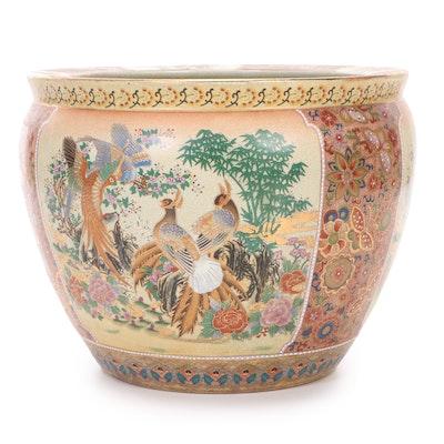Hand-Painted Moriage Satsuma Ceramic Fishbowl Planter