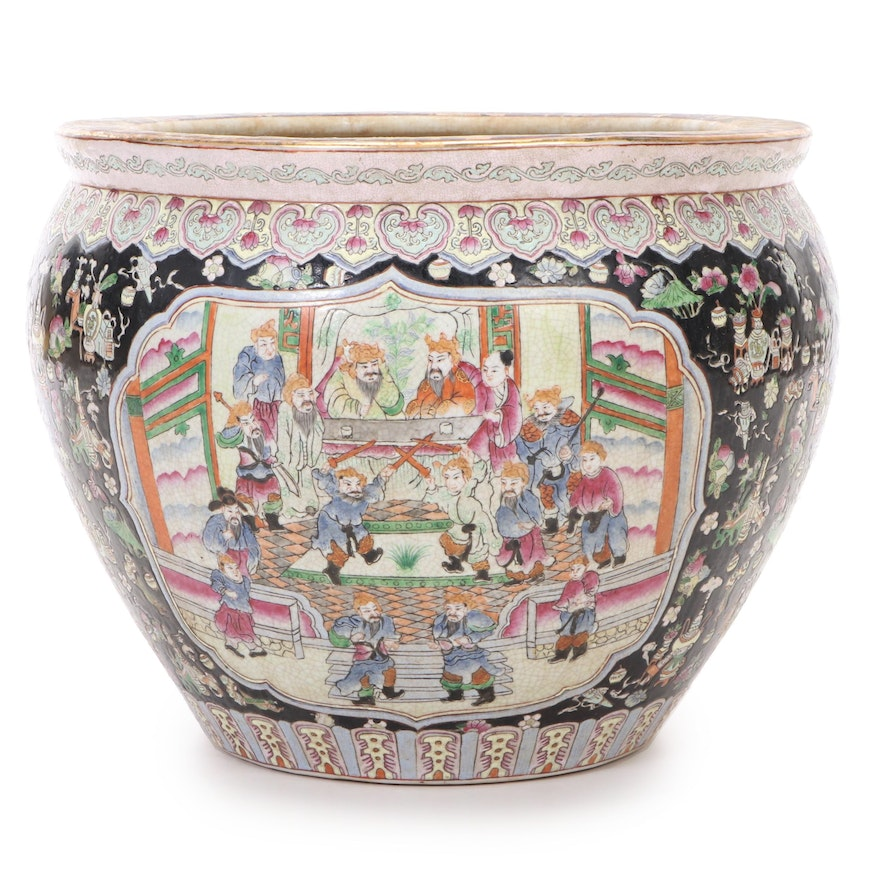 Chinese Famille Noire Hand-Painted Ceramic Planter