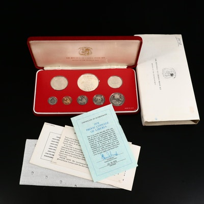 1978 Coinage of Liberia Proof Coin Set Issued by The Franklin Mint