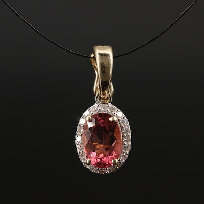 14K Tourmaline and Diamond Halo Enhancer Pendant