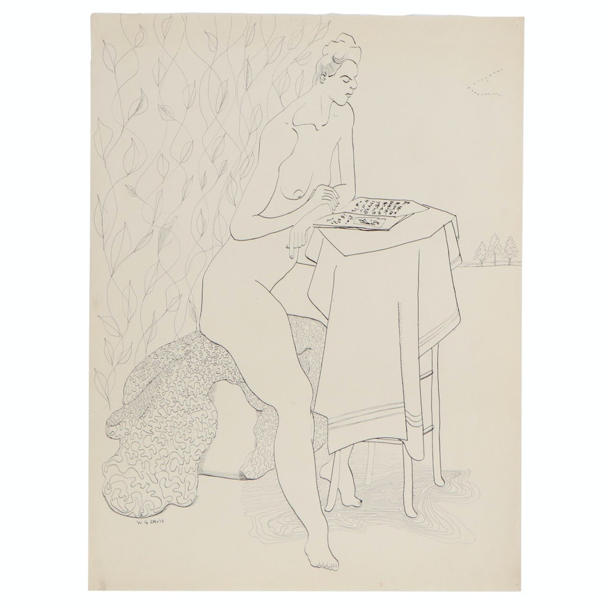 W. Glen Davis Pen and Ink Figure Drawing, Late 20th Century