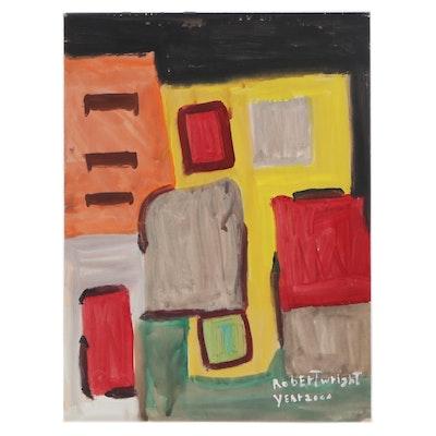 Robert Wright Abstract Folk Art Acrylic Painting, 2000