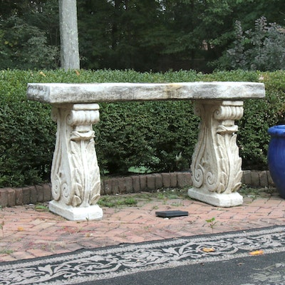 Neoclassical Concrete Outdoor Buffet Console
