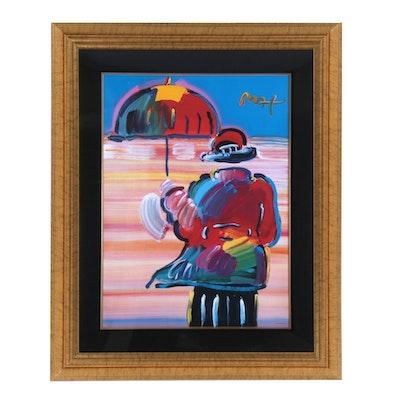 "Peter Max Hand-Embellished Offset Lithograph ""Umbrella Man"""