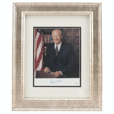Gerald Ford 38th U.S. President Signed Framed Photo Print, JSA COA