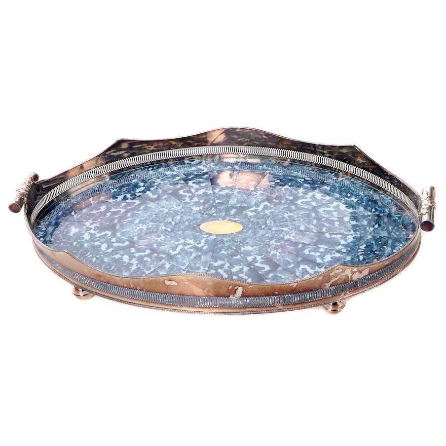 Oval Silver Plate and Faux Blue Tortoise Shell Gallery Tray, Vintage