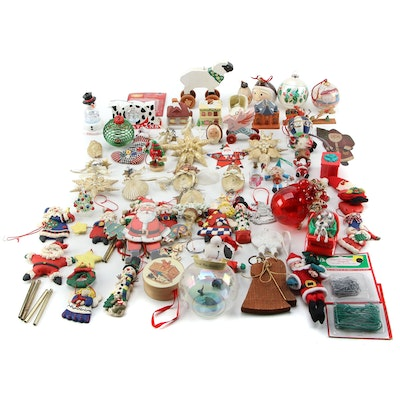 "Wood, Glass, and Other Ornament Assortment Including Disney's ""101 Dalmatians"""