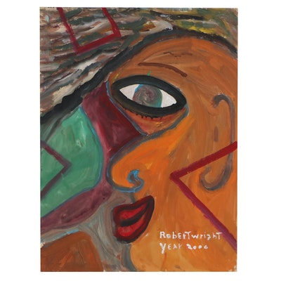 Robert Wright Folk Art Acrylic Painting, 2000