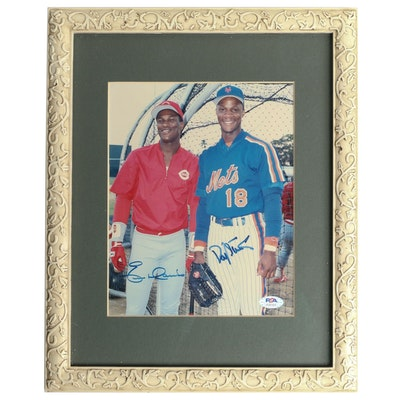 Eric Davis and Daryl Strawberry Dual Signed Framed Baseball Photo Print, PSA COA