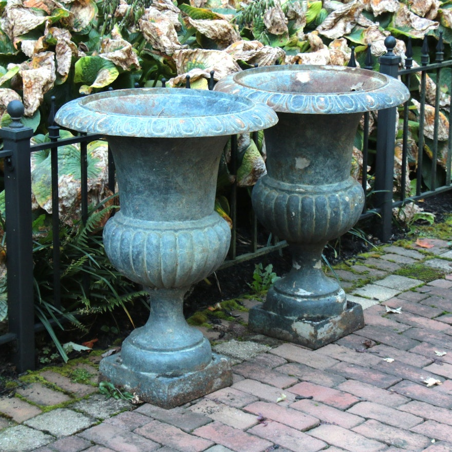 Pair of Neoclassical Painted Iron Outdoor Pedestal Planters