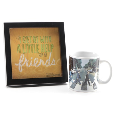 """The Beatles """"Abbey Road"""" Coffee Mug, """"I Get By With a Little Help"""" Framed Chorus"""