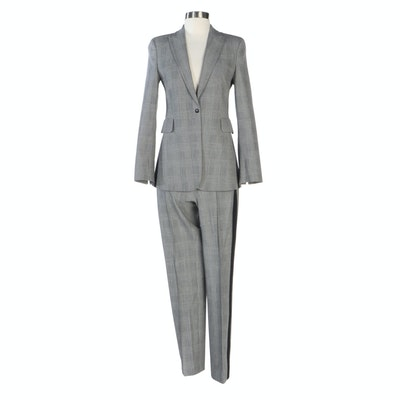Akris Punto Exclusive Glen Check Plaid Wool Blend Pantsuit
