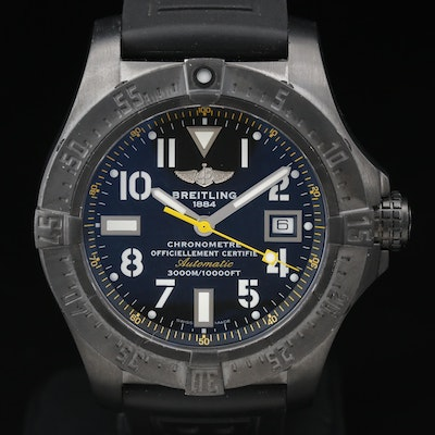 "Breitling ""Avenger Seawolf"" Black Steel Code Yellow Automatic Wristwatch"