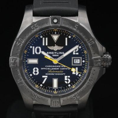 "Breitling ""Avenger Seawolf"" Black Steel Code Yellow Automatic Wristwatch"
