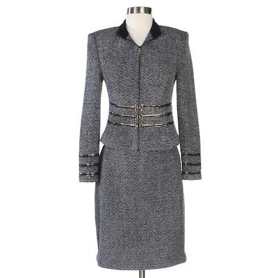 St. John Collection Textured Grey Chevron Knit Skirt Suit