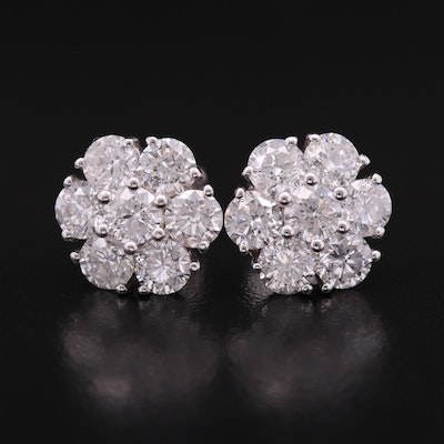 14K 4.32 CTW Diamond Cluster Earrings