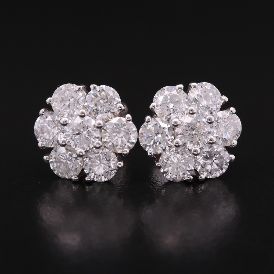 14K 4.32 CTW Diamond Cluster Earrings