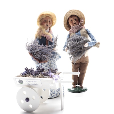 Byers' Choice Ltd. Caroler Figurines and Lavender Cart