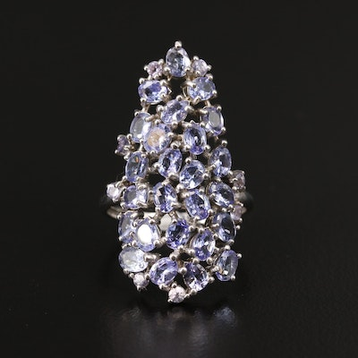Sterling Tanzanite Cluster Ring