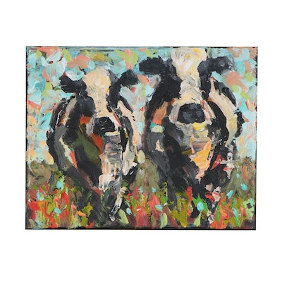 Elle Raines Acrylic Painting of a Cows