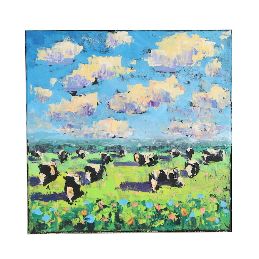 Elle Raines Acrylic Painting of Cows at Pasture