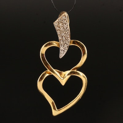 18K Diamond Heart Pendant with 14K Bail