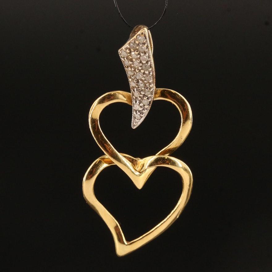 18K Diamond Heart Pendant with 14K Bail