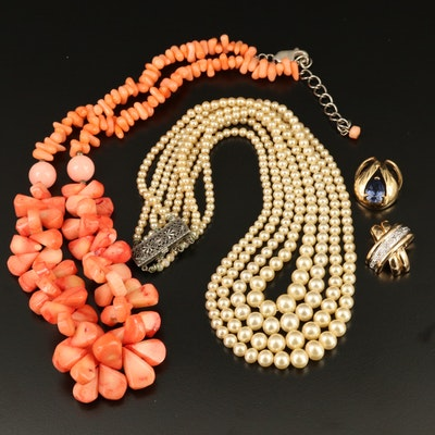 Sterling Silver Necklaces and Pendants with Coral, Diamonds and Faux Pearl