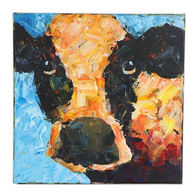 Elle Raines Acrylic Painting of a Cow