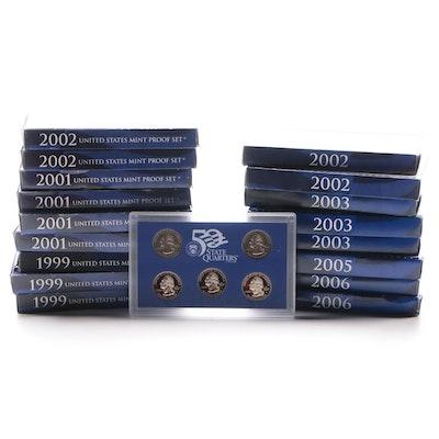 Seventeen US Mint Proof Coin Sets, 1999–2006