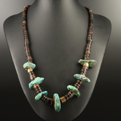 Graduated Turquoise and Shell Beaded Necklace with Sterling Clasp
